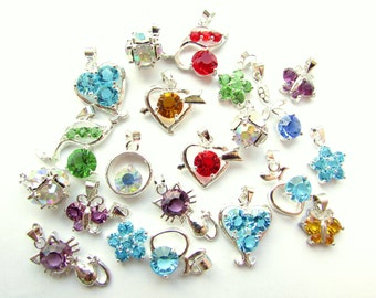 6pcs Assorted Glass Rhinestone Charms Mixed Colors Charms Silver Plated Charm Pendant Mixed Shape Charms Jewelry Findings Craft Supplies