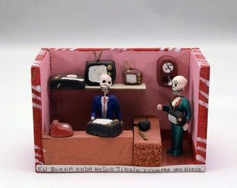 Vintage Dia de los Muertos / Day of the Dead Diorama, Shadow box, Nichos from Mexico