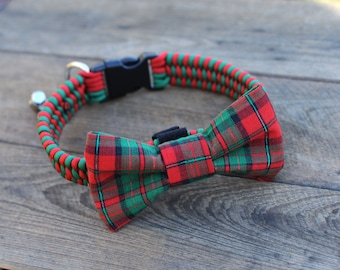 Christmas Dog Collar W/ Plaid Red & Green Bow Tie For Dogs; Christmas; Dog Bow Tie; Dog Accessories; Dog Bow Ties; Christmas Plaid