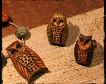 Owl rings, ceramic owls, cold porcelain owls, adjustable owl rings