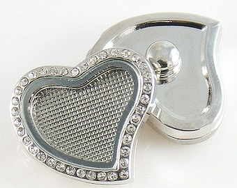 Curved Heart Floating Charm White CZ Stones Metal Button Bead Noosa Charm Chunk, 20mm Ginger Snap Jewelry