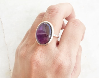 Amethyst ring, 925 Sterling silver, Amethyst Gemtsone ring, Handmade Gemstone ring Purple Amethyst ring Natural Amethyst February Birthstone