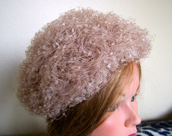 "Ladies 50's ""I. MAGNiN CREME HAT""  Very Fluffy & Soft Looking"