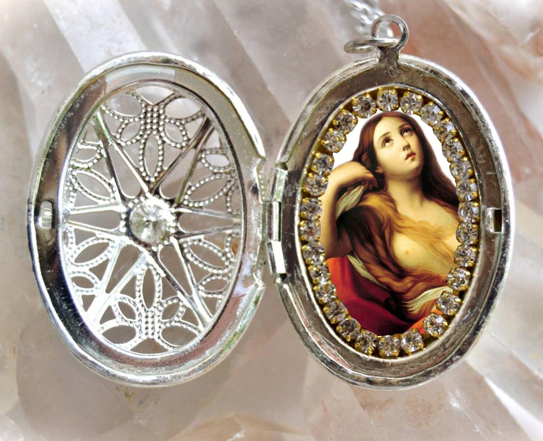 Saint mary magdalene handmade locket necklace catholic christian saint mary magdalene handmade locket necklace catholic christian religious jewelry medal pendant mozeypictures Choice Image