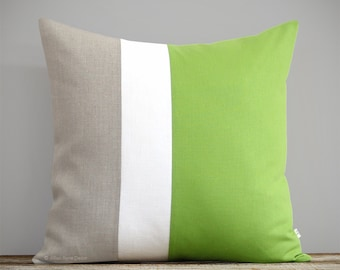 Lime Colorblock Pillow with Cream & Natural Linen Stripes by JillianReneDecor (20x20) Apple Green, 2017 Pantone Color of the Year, Greenery