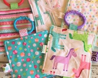 "Baby girl crinkle toys, 5"" crinkle toy, busy mom toys, machine washable, Valentines Day, plush teething toy, plush toys"