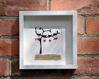 Handmade family like branches of a tree picture. Perfect for weddings, anniversaries and the home