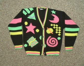 Vintage Girls Cardigan Sweater - Neon Celestial Design Size 14