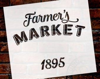 Farmer's Market 1895 -Word Stencil by StudioR12 - Small to Extra Large - For Painting on Wood DIY Farmhouse Country Home Decor - SELECT SIZE