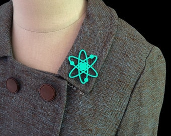 Atomic Atom Brooch / Pin - Laser Cut Acrylic Atomic Symbol Pin