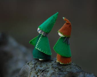 Waldorf forest gnomes,set of two wee folk gnomes, two leprechauns, handmade natural toys, waldorf inspired toys