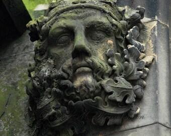 Scottish Green Man Art - Edinburgh Scotland Photo - Rustic Scotland Photo - Scottish Architectural Pagan Art - Architecture Photos