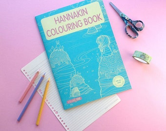 Colouring Book - Hannakin illustrations - 24 page black and white line work whimsical original drawings