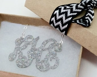 "Small 1.5"" Kids Holographic Acrylic Monogram Necklace"