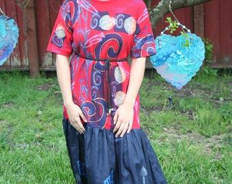 Red drop waist dress with silk skirt