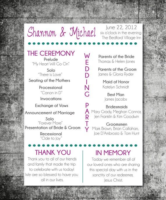 items similar to printable wedding program playbill design on etsy