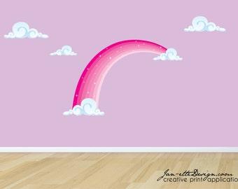 Rainbow Fabric Wall Decal, Pink Rainbow Wall Sticker, Rainbow and Clouds