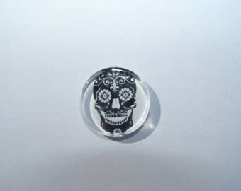 Cabochon 25 mm round and flat with a Mexican skull image