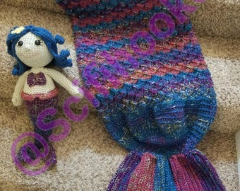 Mermaid Tail Blanket and matching doll combo