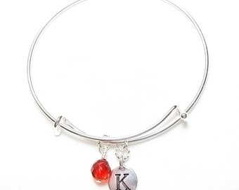 Birthstone Bangle Bracelet First Initial Wire Wrapped Crystal