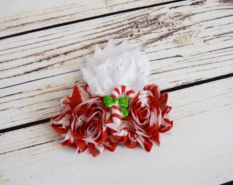 Handcrafted Candy Cane Shabby Rose Hair Clip - Christmas Hair Clip - Red and White Striped Rose Alligator Hair Clip - Holiday Hair Clip