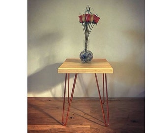 Handmade, Bespoke, Copper Hairpin Legs, Mid Century, Rustic, Scandinavian Style, Side Table/Bedside Table/End Table,