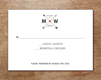 Printable RSVP Card - Monogram Arrows - Hearts and Arrows Response Card Template - Instant Download Black, White and Red Wedding RSVP Card