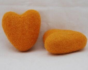 100% Wool Felt Heart - 2 Count - 6cm - Orange