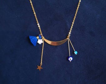 Necklace lucky half moon and charms