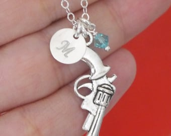 Gun Necklace, Pistol Necklace, Personalized Gun Necklace, Silver Pistol Necklace, Revolver Necklace, Letter Necklace, Shoot Like a Girl