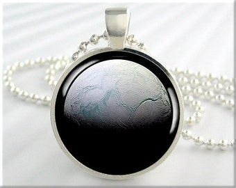 Enceladus Moon Pendant, Jupiter Moon Space Necklace, Resin Jewelry, Space Geek Gift, Planet Jewelry, Round Silver 731RS