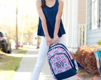 Backpack with Monogram for Back to School Pink Navy Aqua Tile Print Travel or Diaper Bag