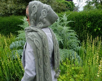 Knitting Pattern Hooded Scarf, Instant Download