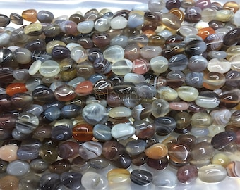 natural botswana agate nuggets -  tumbled nuggets beads - natural agate nuggets - semi precious nugget beads -nugget beads wholesale -15inch