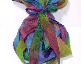 10YD. METALLIC PRISM Sari Silk Bundle//Dyed Silk Sari Ribbon Bundle//Sari Tassels,Sari Wall Decor,Sari Fiber Jewelry,Sari Tapestry