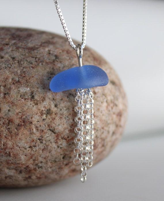 Little Jellyfish sea glass necklace in cornflower blue