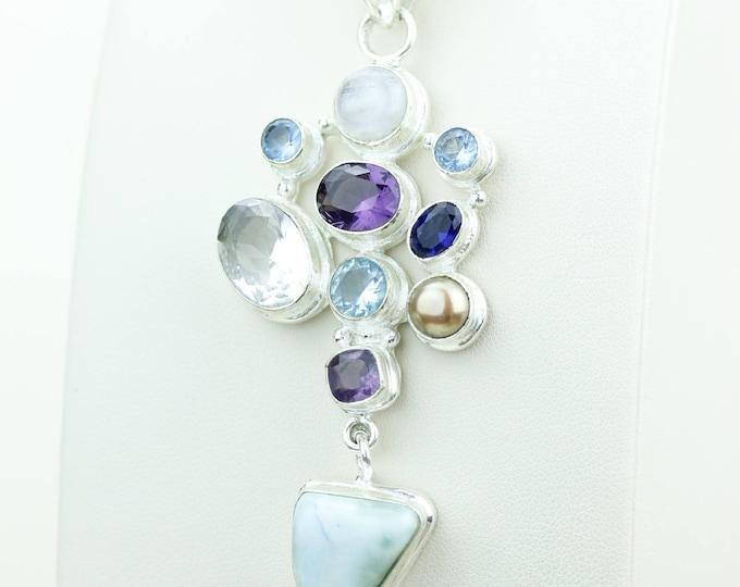 Larimar Moonstone Amethyst Citrine Blue Topaz Iolite 925 S0LID Sterling Silver Pendant + 4MM Snake Chain & Worldwide Shipping p4099