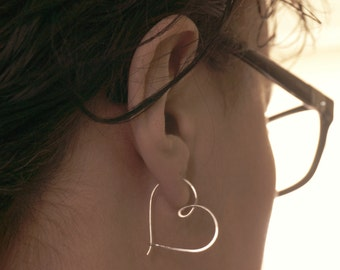 Silver hoop earrings, Heart hoop earrings, Tribal heart earring, Sterling silver hoop earrings