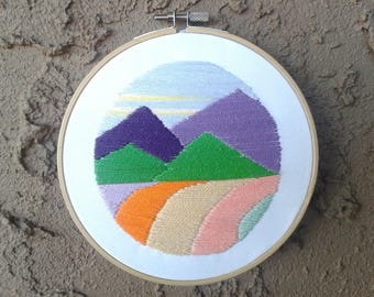 Hand Embroidered Mountain Landscape || decor handmade wall hanging hoop art under gift needle mountain landscape scenery colorful outdoor