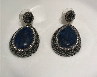 Sax Blue Gemstone And Crystal Handmade Chandelier Earring