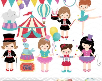 Instant Download Circus Digital Clip Art, Circus Clipart, Girls Circus Digital Clip Art, Carnival Clipart, Baby Girl Circus Party, 00193