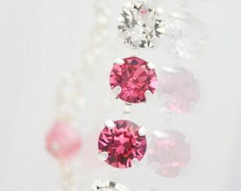Swarovski Rose,crystal bracelet,pink crystal bracelet,pink wedding jewelry,pink bridesmaid bracelet,pink prom bracelet,pink graduation