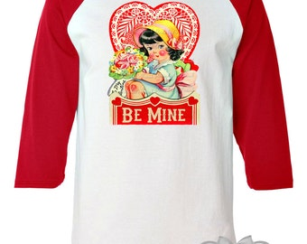 "Valentine Women's Shirt - Red ""Be Mine"" Baseball Shirt - Valentine Retro Custom Adult Unisex Size S M L Xl 2Xl 3XL Ladies"