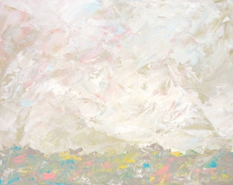 Original Landscape Painting Acrylic on Canvas Board White Pink Light Pastel Abstract Seascape Natural tones