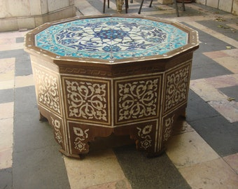 Tea Table, Coffee Table, Living room furniture, Syrian Mosaic, wooden coffee table, Handmade Syrian Tea table, Entryway Furniture