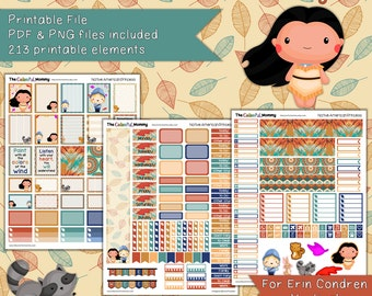 Native American Princess Weekly Planner Sticker Kit | use with Erin Condren Vertical Planner | Fairy tales | PDF | Printable | Pocahontas