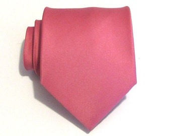 Pink Mens Necktie With *FREE* Matching Pocket Square French Rose Pink Silk Tie