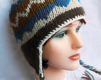 Vintage wool earflap hat fleece lined Nepal warm winter cap ethnic