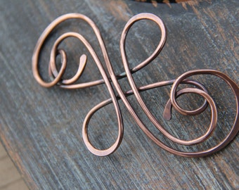 "Hair slide, hair barrette, hair pin, oxidized copper hair slide ""Calligraphy"" collection, Celtic hair pin, copper hair accessorie"