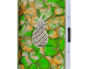 Pineapple Metal Cigarette Case Inlaid in Hand Painted Enamel Green Quartz Inspired Metal Wallet with Color Options and Personalized Options
